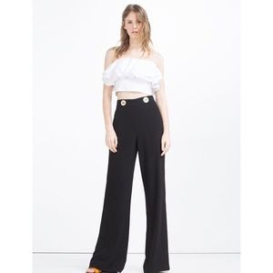 ZARA HIGH WAIST TROUSERS WITH GOLD BUTTONS